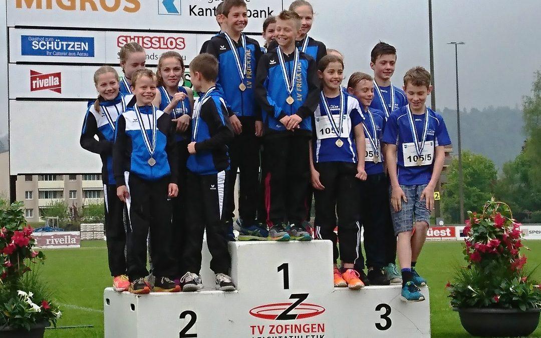 7 Medaillen (2 Gold, 1 Silber, 4 Bronze) an den Aargauischen Staffelmeisterschaften